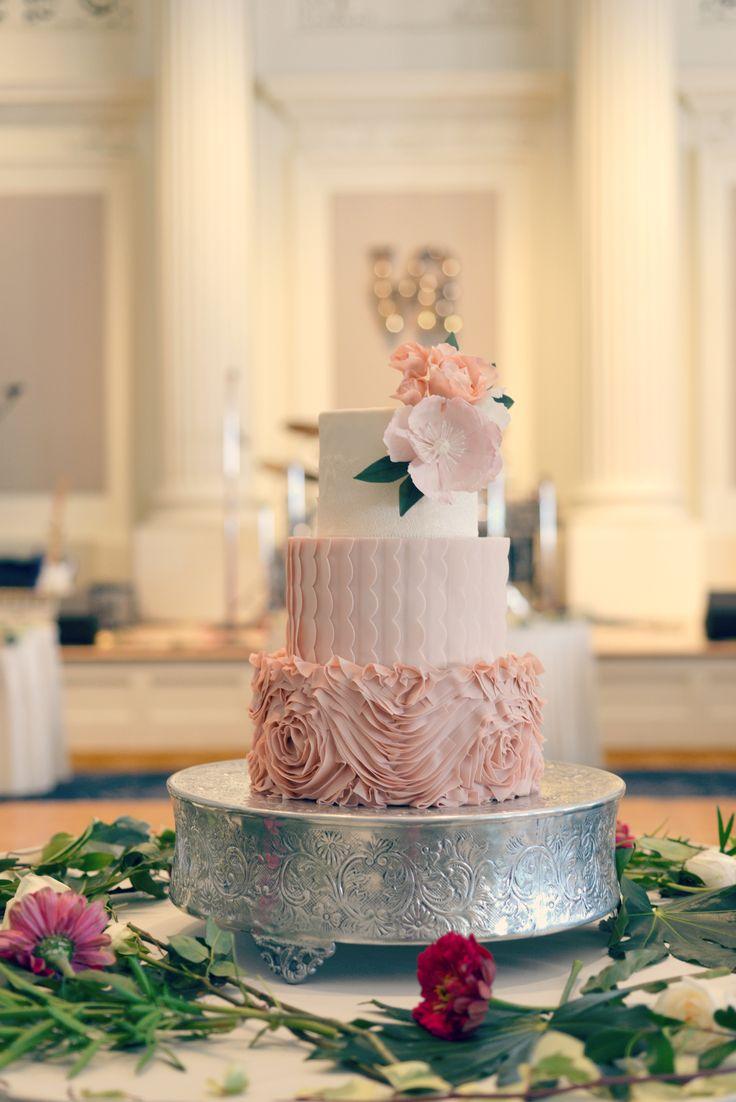 Elegant Wedding Cake With Dusty Rose Rosette Ruffles And