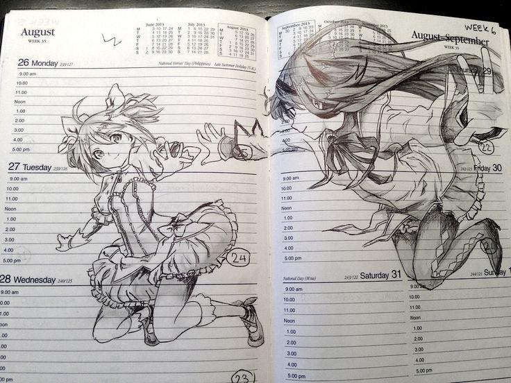Homura x Madoka sketch art (Puella Magi Madoka Magica)