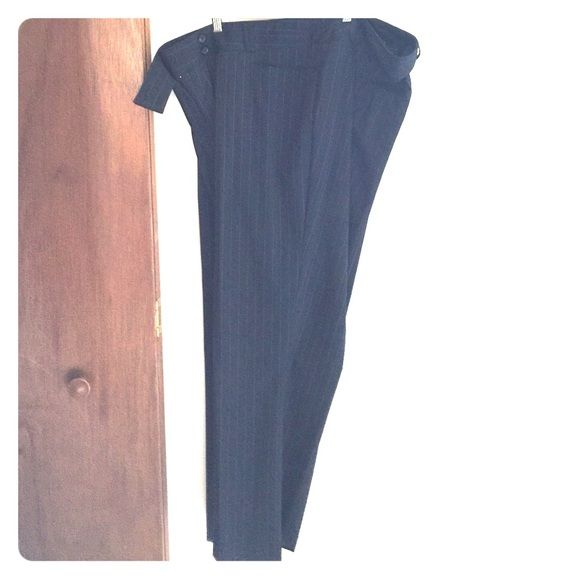 Navy Blue Pinstripe Suit Pants Navy Blue Pinstripe Suit Pant. Size 24. Worn twice. Zero damage. Perfect condition. You can buy just the blazer (size 20) for $75, just the pants (size 24) for $50 or both as a set for $100. Lane Bryant Pants Straight Leg