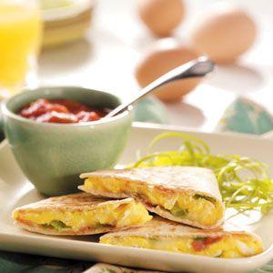 Breakfast Quesadillas Recipe from Taste of Home -- shared by Jennifer Evans of Oceanside, California