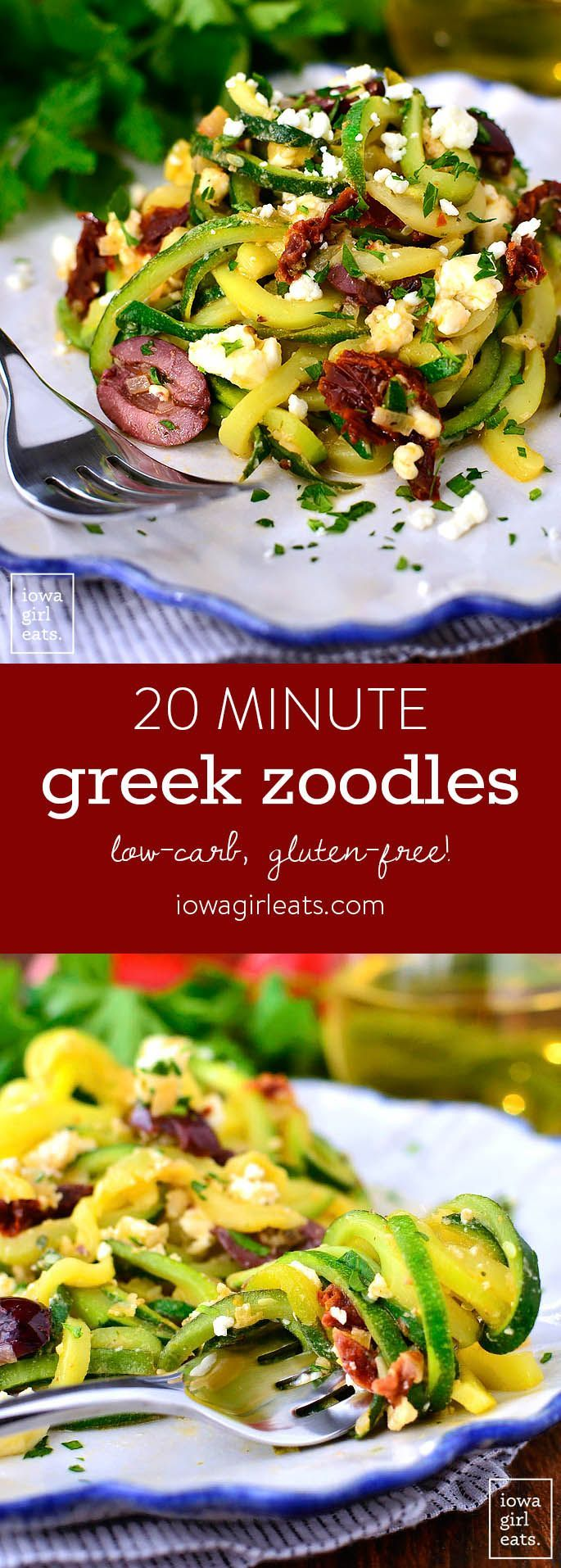Greek Zoodles cook in just 10 minutes and are full of fresh, clean flavors. Pair with chicken or shrimp, or serve as a gluten-free light main meal for two! | iowagirleats.com