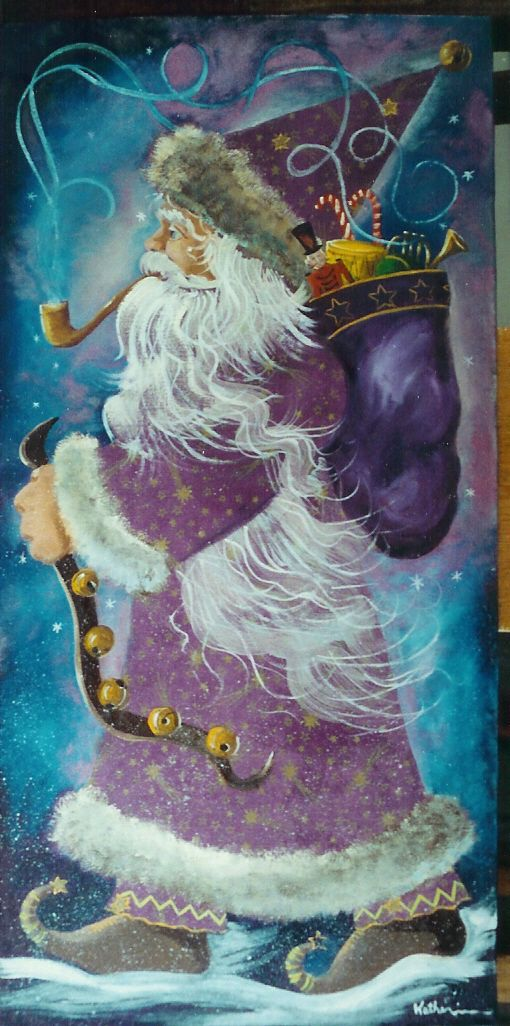 Purple Santa o/printed material glued on masonite 24x12 by Katherine Cook