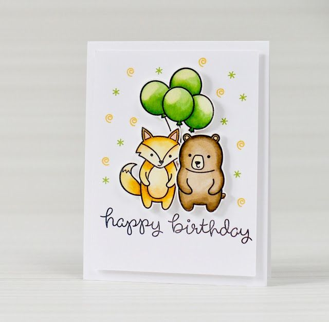 35 Best Cute Animal Drawing Happy Birthday Cards Images