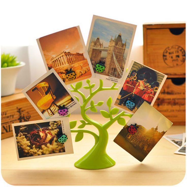 Kreatif Beruntung Pohon Dekorasi Desktop Lucu Memo Pemegang Klip Foto Catatan Multifungsi Magnetik Pemegang Kartu Meja Plastik