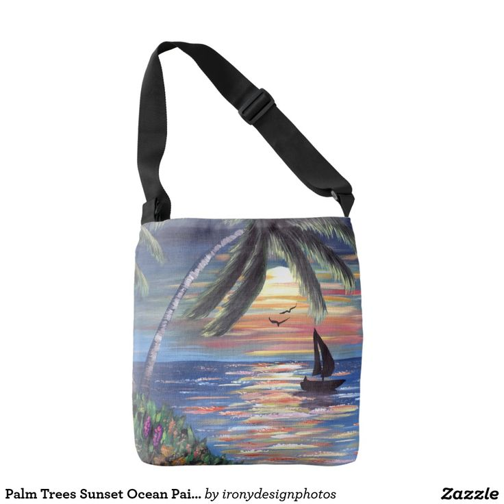 Palm Trees Sunset Ocean Painting Tote Bags. Two coastal palm trees and a sailboat on the ocean at sunset with birds and flowers. Beautiful seascape acrylic painting landscape of a Caribbean tropical beach. Original traditional hand-painted by Donna Leger for ©irony designs