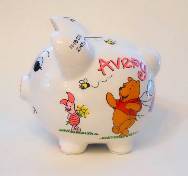 Personalized Piggy Bank with Winnie the by LittleWhiteDogStudio