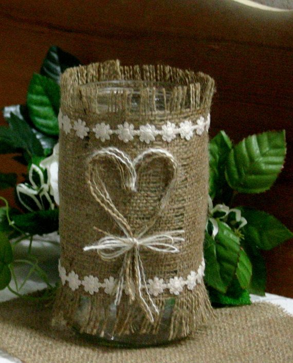 Cute Wedding Centerpiece Ideas: Cute Burlap Centerpiece Idea By Etsy Shop, Bannerbanquet