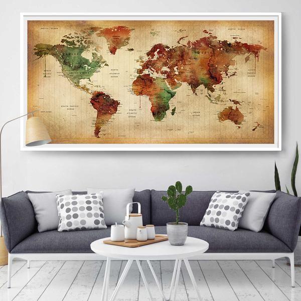44 best extra large world map images on pinterest extra large large world map poster art print world map vintage style illustration world gumiabroncs Gallery