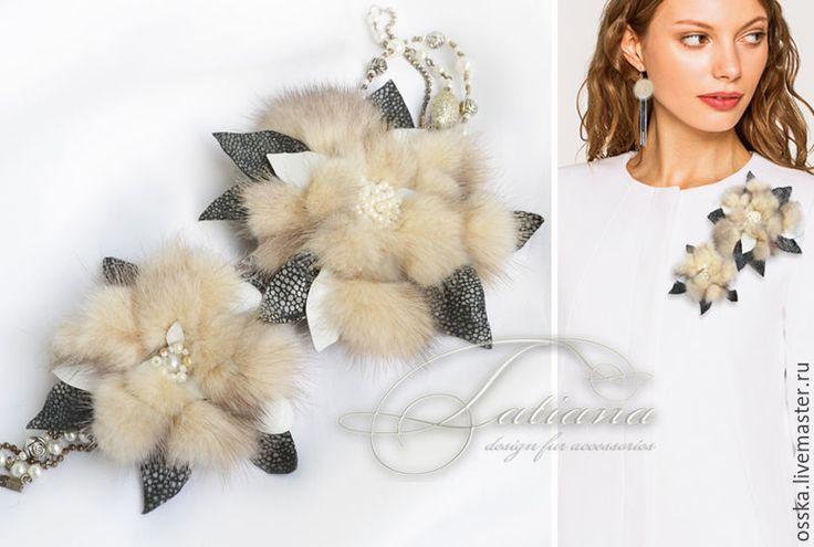 Купить цветок из меха универсальный - мех, брошь, украшение, мех норки, украшение из меха, кулон