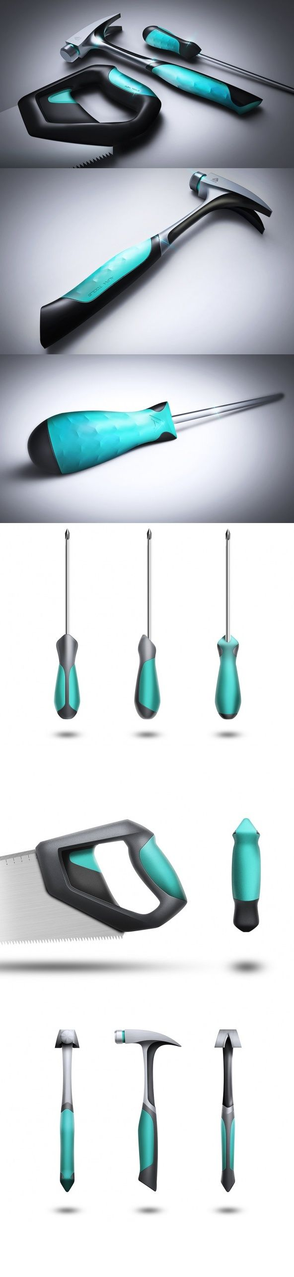 The over-moulded TPE contact points allow the user to comfortably grip each tool and efficiently complete the task at hand. The combination of these turquoise contact points, deep black body and brushed steel create a well-balanced coherent design language with an eye-catching aesthetic. #Yankodesign #Tools