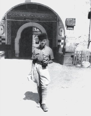 Patrick Leigh Fermor at the Rila Monastery in Bulgaria during his trek through Europe in 1934.Credit Patrick Leigh Fermor Papers, ...