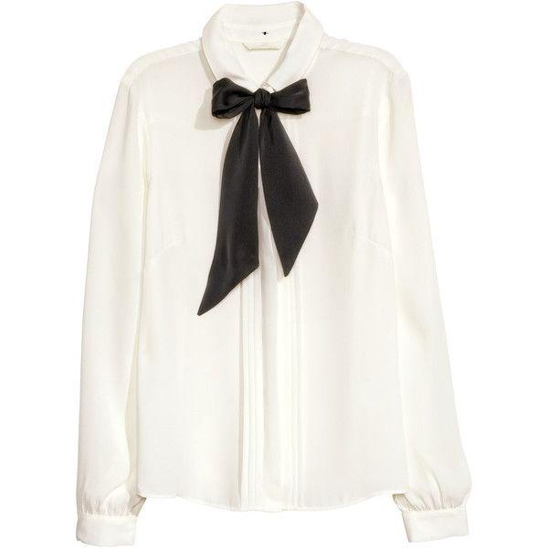 H&M Chiffon blouse found on Polyvore featuring tops, blouses, shirts, white, white chiffon shirt, white tie shirt, embellished collar shirt, long sleeve chiffon blouse and tie shirt