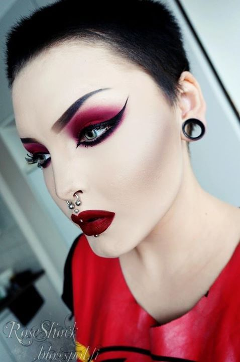 "Roseshock- Eyeshadow is ""Guren"" by Violent Maiden, Eyeliner is by Eyeko, Lipstick is ""Wicked"" by Lime Crime"