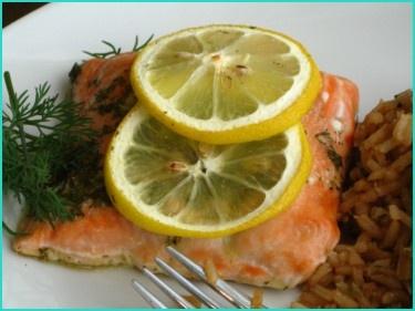 Lemon Dill Salmon.   I love all her recipes!