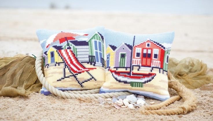 Kussen Op het strand & Aan de kust -borduren borduurpakket - Vervaco