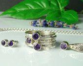 Amethyst Purple ring ,Amethyst Purple Necklace,Amethyst Purple earrings , sterling silver 925