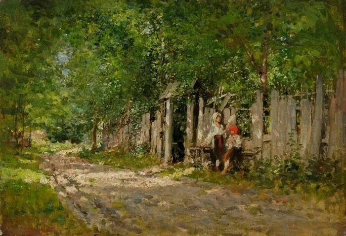 Nicolae Grigorescu, Girl Working by the Gate, 1885