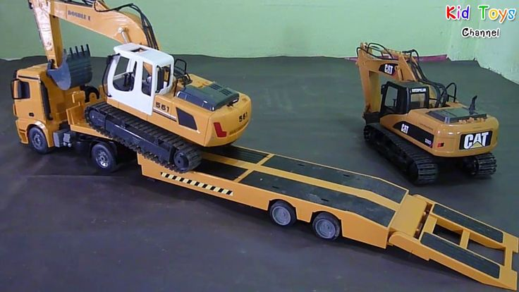 Amazing Two Excavator on Heavy truck carrier low loader RC Trucks