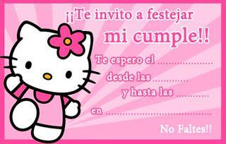 Invitaciones para imprimir de Hello Kitty