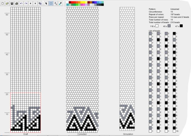Bead crochet rope pattern - Triangles - 15 around - 3 colors