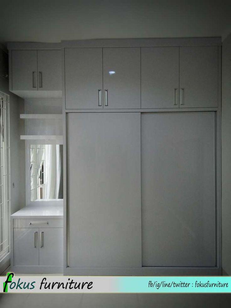 Lemari 2 pintu sliding warna putih