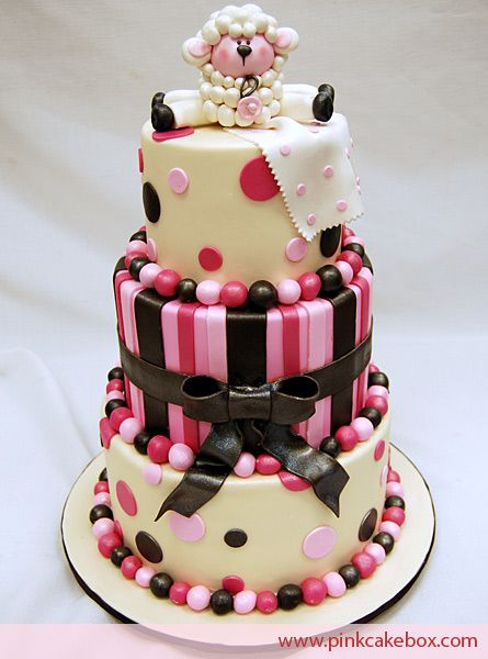 Click to enlarge Pink and Brown Baby Shower Cakes