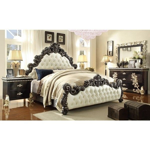 5 pc queen victoria ii renaissance style king bedroom set with tufted... (970 DKK) ❤ liked on Polyvore featuring home, furniture, cal king bedroom sets, california king bed furniture, california king bedroom sets, tufted furniture and tufted bedroom set