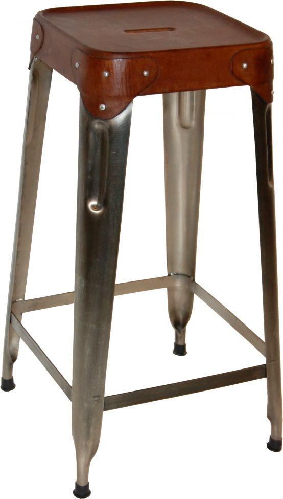 Pall 70 cm - Stål och läder i gruppen Sittmöbler / Pallar hos Reforma Sthlm  (M110019)