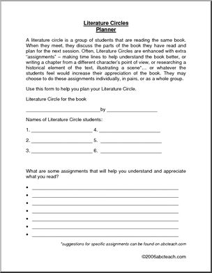 Literature Circles - What is a literature circle? How does it work? Here are some suggestions for planning literature circles, as well as charts for tracking vocabulary, important questions, and interesting observations.