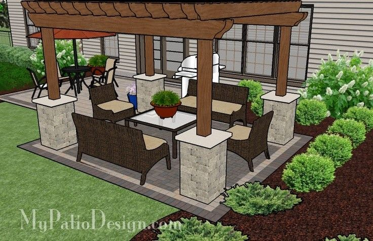 Simple Brick Patio With Pergola Patio Designs And Ideas Patio Design Brick Patios Pergola Patio