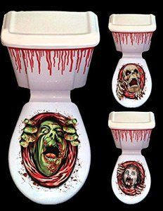 Décoration Halloween-horror WC et réservoir WC Mise en scène murale en plastique décoratif, 1 – Pack