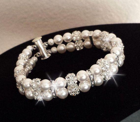 Bridal Rhinestone Bracelet, Pearl Bracelet, Bridal Crystal Bracelet, Swarovski Pearls, Wedding Jewelry, MADONNA - pick your pearl color on Etsy, $42.00