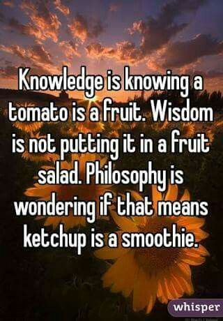Knowledge is knowing a tomato is a fruit. Wisdom is not putting it in a fruit salad. Philosophy is wondering if that means ketchup is a smoothie.