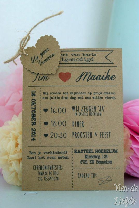 Bekend Beroemd Originele Uitnodiging Bruiloft &HL98 @AK62