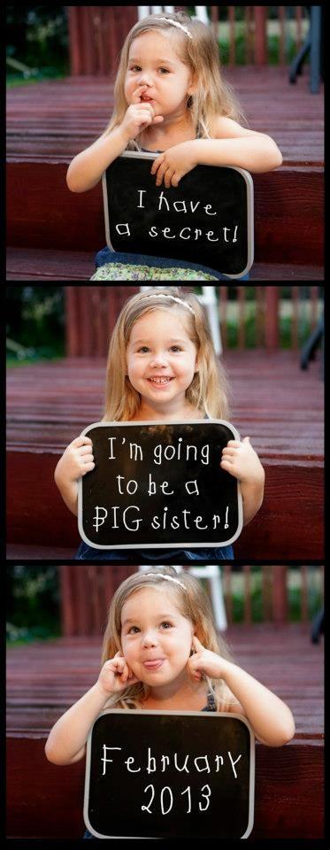 J'ai un secret... Je vais être grande-soeur!