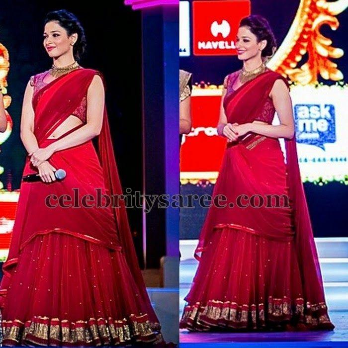 Tamanna Red Designer Half Saree | Saree Blouse Patterns