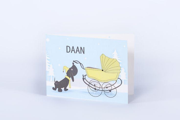 geboortekaartje Daan: hond, koets, sneeuw, boom, groen, blauw