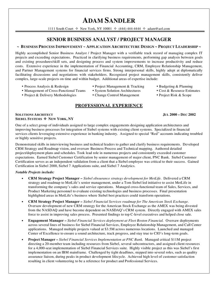10 best Best Business Analyst Resume Templates \ Samples images on - project resume sample