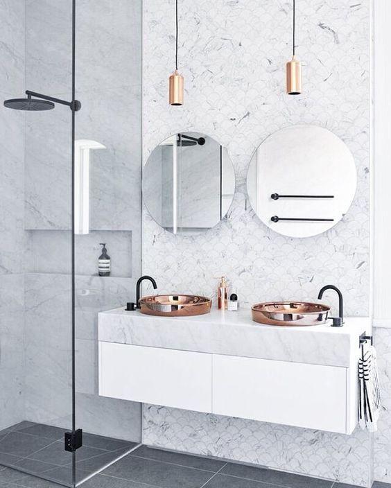 Copper and marble luxurious bathroom, interior design ideas