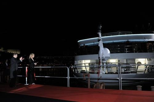 Sharon Stone performs the ribbon cutting and champagne breaking ceremony as godmother to the AmaWaterways AmaVida at an event in Porto, Portugal on March 22, 2013.