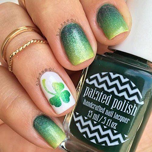 Shamrock Tape for Nails, St. Patrick's Day Nail Stickers, Nail Art, Nail Vinyls - Medium (20 Strips) : Beauty