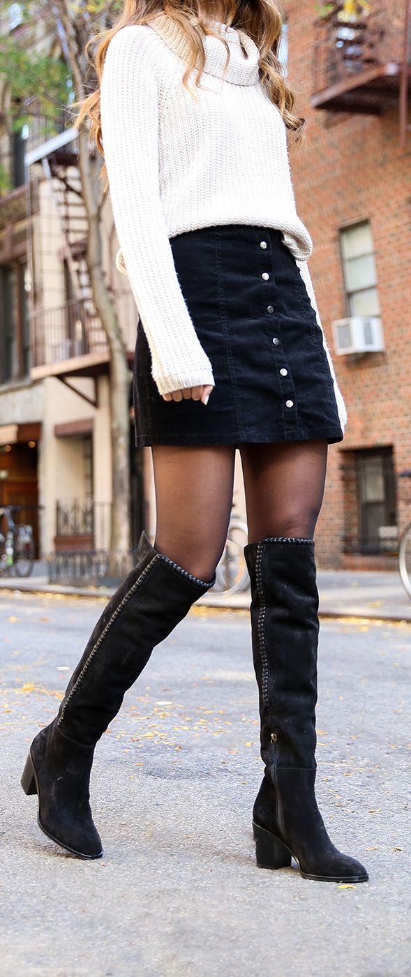 Giovanna Thread OTK Boots | The Frye Company #skirtoutfits