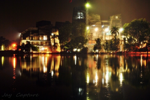 Crystal of Knowledge , University of Indonesia library at night