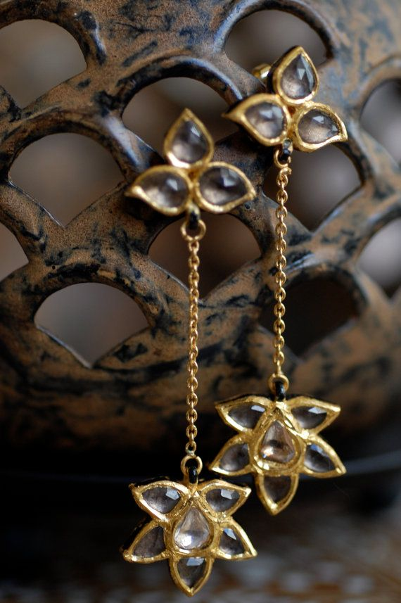 Smoky Quartz Polki Diamond and 24k Gold Lotus by sapnamehra