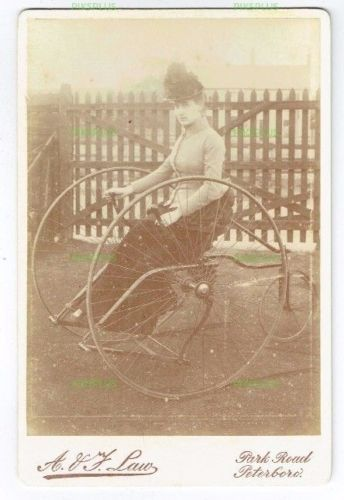 OLD-CABINET-PHOTO-YOUNG-LADY-ON-VELOCIPEDE-TRICYCLE-A-V-J-LAW-PETERBOROUGH-1888