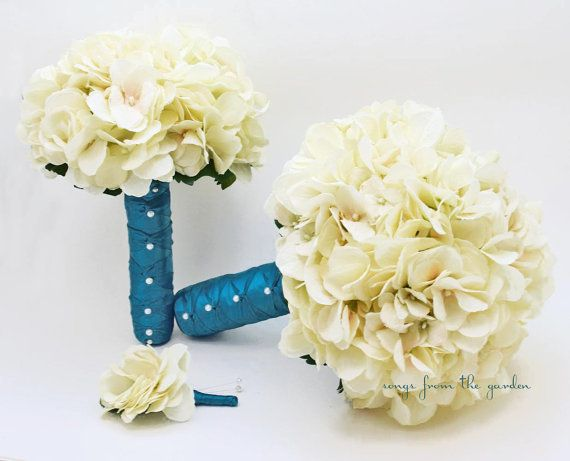 Wedding Bouquet Cream Silk Hydrangea Teal Ribbon Pearl Accents Silk Flower Bridal Bouquet Toss Bouquet Groom's Boutonniere - Ivory Teal