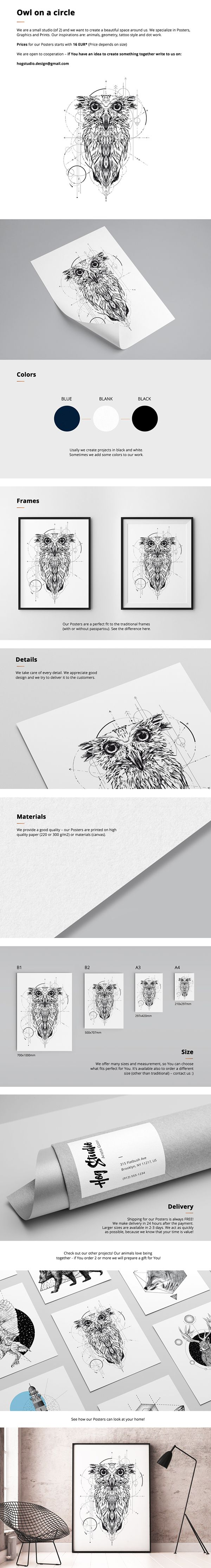 """Poster """"Owl on a circle"""" We create a beautiful space around us. We specialize in Posters, Graphics and Prints. Contact: hogstudio.design@gmail.com"""
