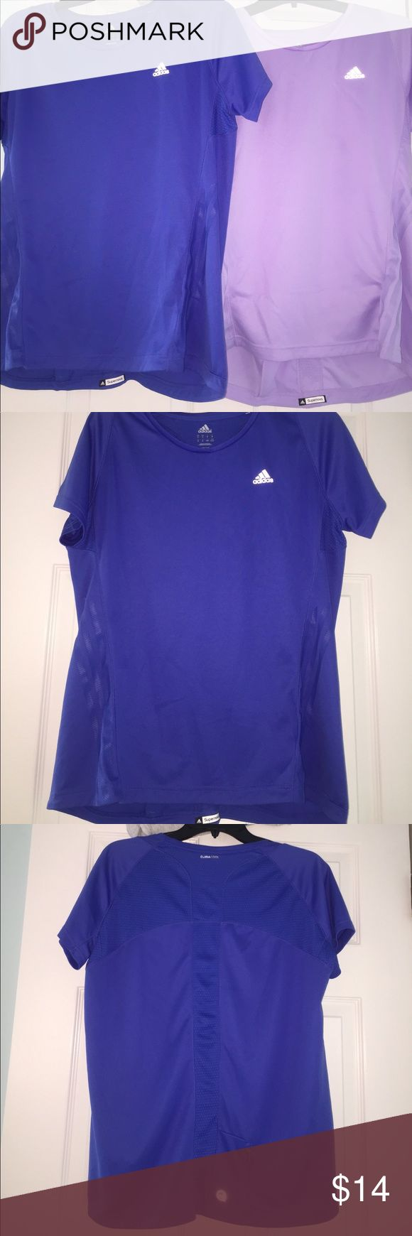 2 adidas workout shirts Fairly new bundle of workout shirts with small zipper on the lower back adidas Tops Tees - Short Sleeve
