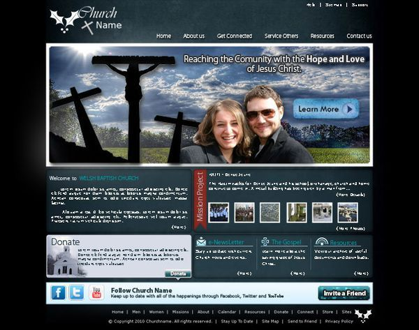 church website psd layout template