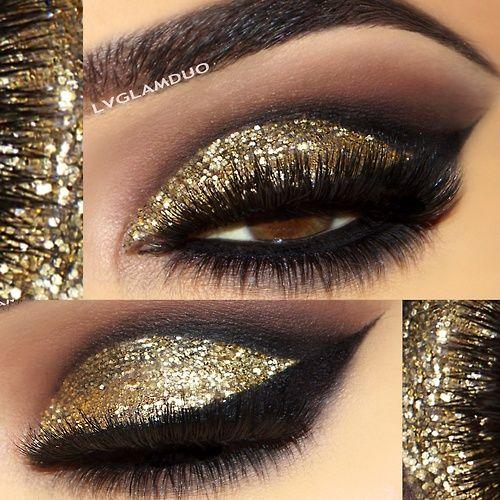 gold glitter eyeshadow makeup: Make Up, Eye Makeup, Beautiful Mark, Nyx Cosmetics, New Years Eve, Nyxcosmet, Gold Eye, Eyeshadows Makeup, Glitter Eyeshadows